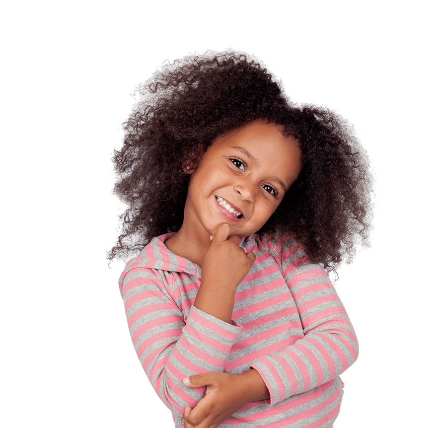 a young girl smiles with her hand resting on her chin